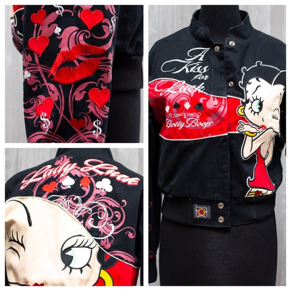 8682543a9 VALENTINES DAY! Vintage Betty Boop Bomber EUC ML